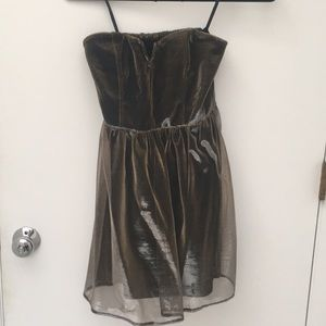 Strapless Metallic Party Dress